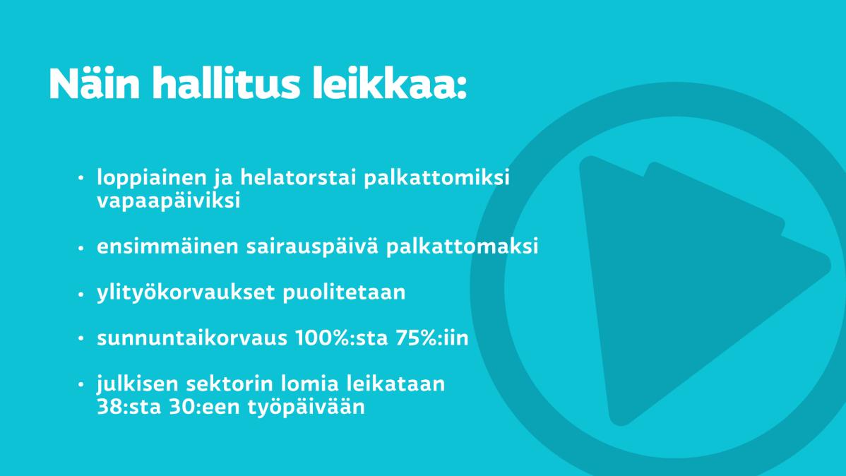 Hallitus jyrähti: Lomia, ylityökorvauksia ja sunnuntailisiä leikataan