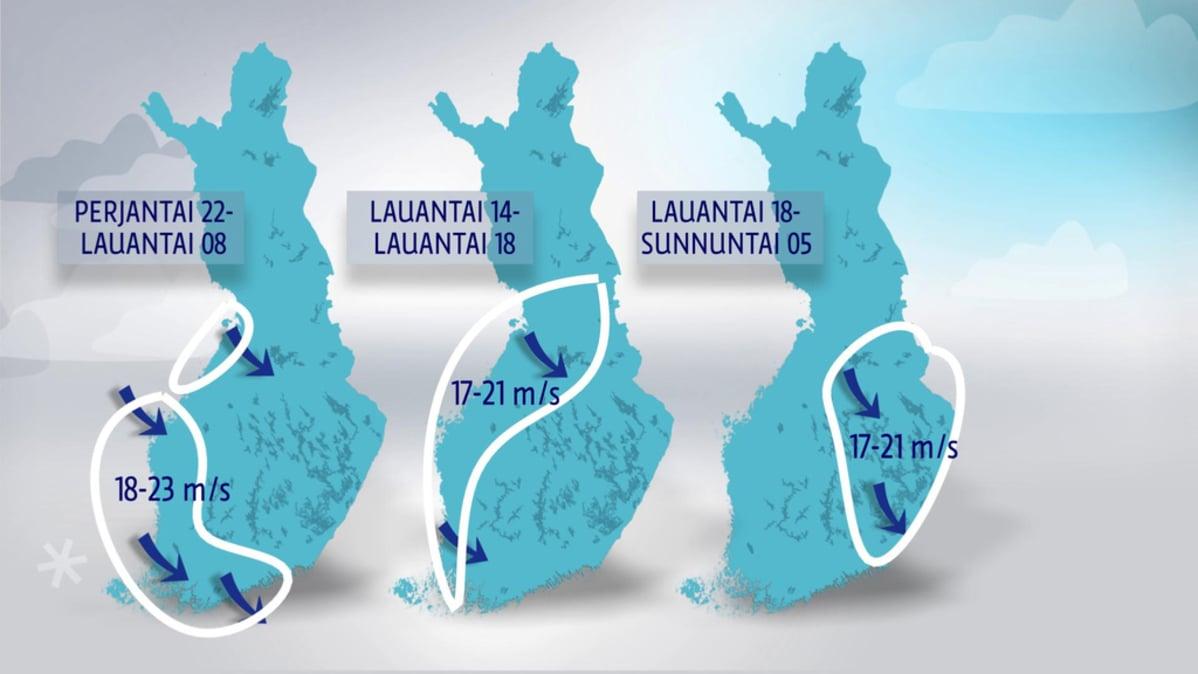 Staffan-myrskyn voimakkaat tuulet puhaltavat Suomessa koko päivän