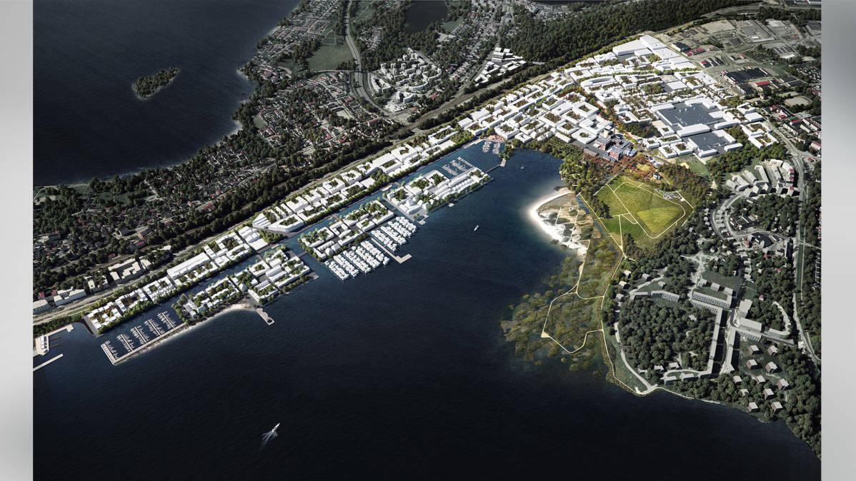 Havainnekuva Hiedanrannan Innovaatiolahti -ehdotuksesta
