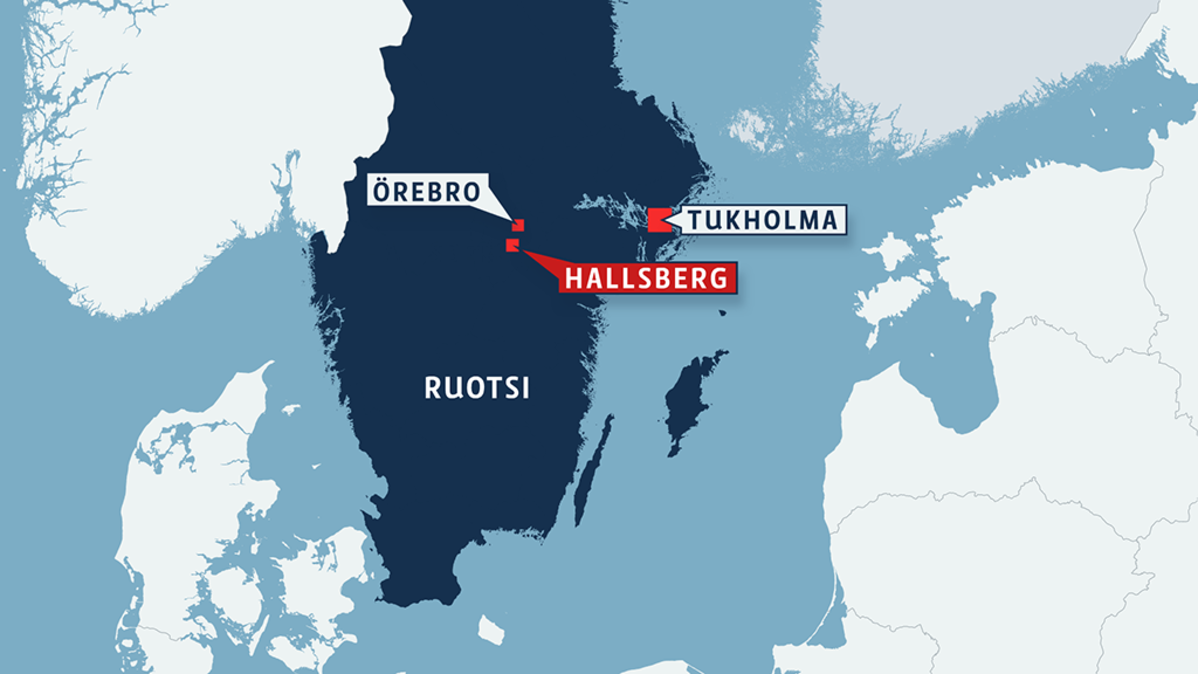 Sweden map with locations in Stockholm, Orebro and Hallsberg.