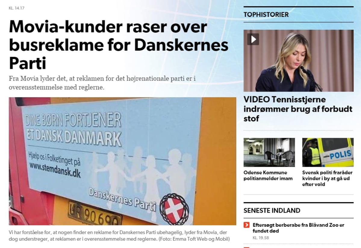 """Kansallismielisen puolueen mainoksista kohu Tanskassa – """"Lapsesi ansaitsevat tanskalaisen Tanskan"""""""