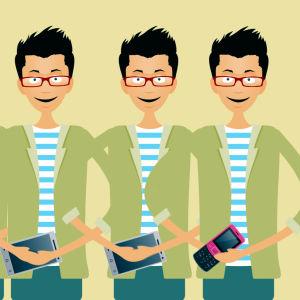 Viisi miestä mobiililaite kädessä, grafiikka