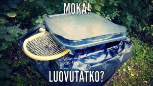 Tennismaila hävityn pelin jälkeen roskiksessa