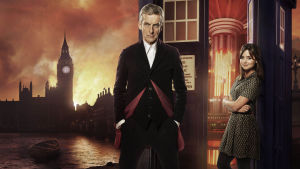 Doctor Who -sarjan kahdeksannen kauden päähenkilöt Tohtori (Peter Capaldi) ja Clara (Jenna Coleman)