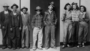 Kolme Mike Disfarmerin ottamaa ryhmäpotrettia