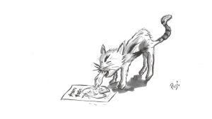 Nuottien päälle oksentava kissa. (Piirros Pasi Lyytikäinen).