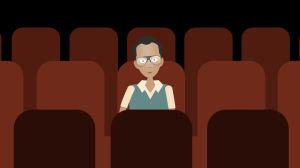 Mies istuu tyhjässä elokuvateatterissa, grafiikka.