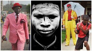35 lehmää ja yksi Kalashnikov. Dokumenttielokuva, ohjaus Ossie von Richthofen. Kuvassa sapeur Brazzavillessa (vas.) suri-heimon jäsen Etiopiassa ja albiinopainija Kinshasassa.