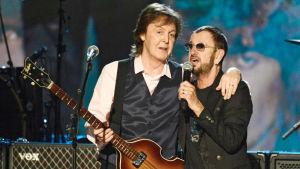 Kuvassa Paul McCartney ja Ringo Starr. Yle Kuvapalvelu / 2014 Kevin Mazur.