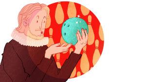 Piirretty kuva, Hamlet tarkastelee palloa
