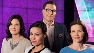 A-studion juontajat Kirsi Heikel, Susanne Päivärinta, Jan Andersson ja Johanna Vesikallio.