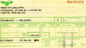 Vanha matkalippu, VR junalippu.