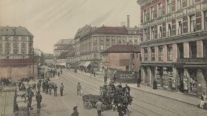 Postikorttikuva vanhasta Oslosta, Kristianiasta.