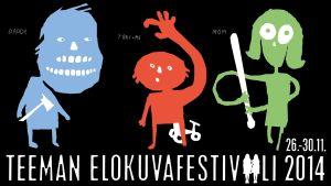 Teeman elokuvafestivaali 2014. Julisteet suunnitteli Kirsi Kukkurainen.