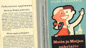 Vilho Ollarannan kirjan Matin ja Maijan puhetaito -kirjan kansi vuodelta 1959, piirros Matti Larres.