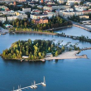 En flygbild över Sandö i Vasa.