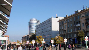 Europaplatsen i Dnipropretovsk i Ukraina.