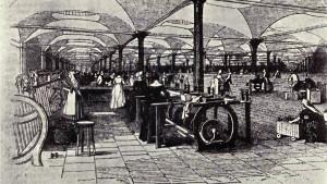 Linnefabrik i Leeds 1843.