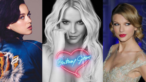 Photoshoppad bild på Katy Perry, Britney Spears och Taylor Swift.