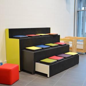 Utdragbar soffa i Braheskolan.