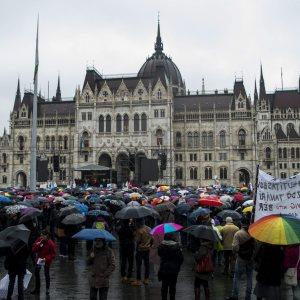Demonstration mot premiärminister Viktor Orbáns skolpolitik i Ungerns huvudstad Budapest den 13 februari 2016.