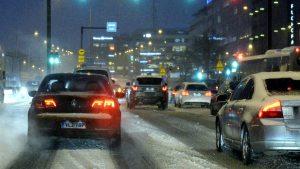 Snöslask i trafiken