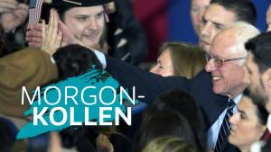 Bernie Sanders omgiven av sina anhängare efter segern i primärvalet i New Hampshire.