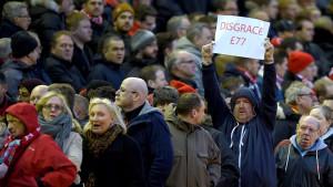 Liverpoolanhängare protesterar mot nya biljettpriser, februari 2016.