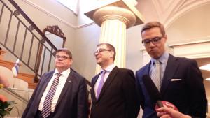 Regeringsbildarna Sipilä, Soini, Stubb möter pressen på Smolna