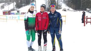Emma Hagluns (2:a), Wilma Westerlund (1:a) och Nicole Sten (3:a) i D14.