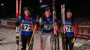 Fanny Storvall (2:a), Andrea Julin (1:a) och Ronja Kainberg (3:a) i damsprinten vid #FSSM