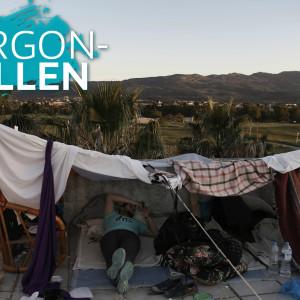 En syrisk flykting vilar på ett övergivet hotell på ön Kos den 5 maj 2015.