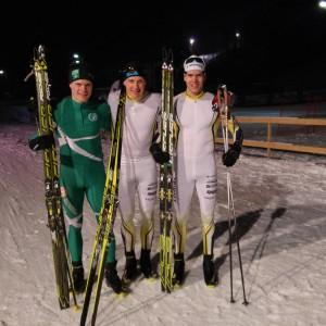 Rikhard Mäki-Heikkilä (3:a), Toni Ketelä (1:a) och Christoffer Lindvall (2:a) tättrion i herrsprinten vid FSSM.