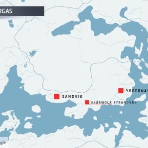 Karta över Ybbernäs i Pargas