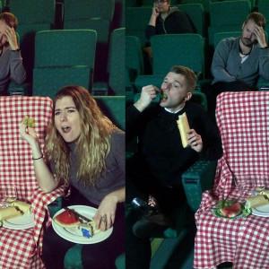 Tommy och Pernilla från Stiftelsen har picknick på bio.