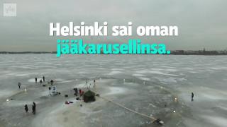 Видео: Uutisvideot: Helsingin omassa jääkarusellissa saunotaan