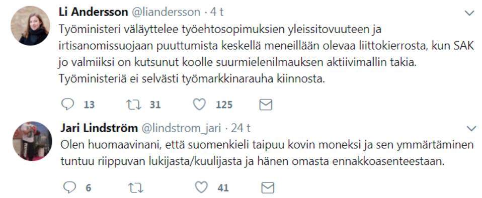 Li Andersonin ja Jari Lindströmin keskustelua Twitterissä.