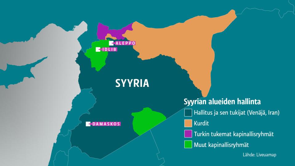 Kartta Syyrian alueiden hallinasta.