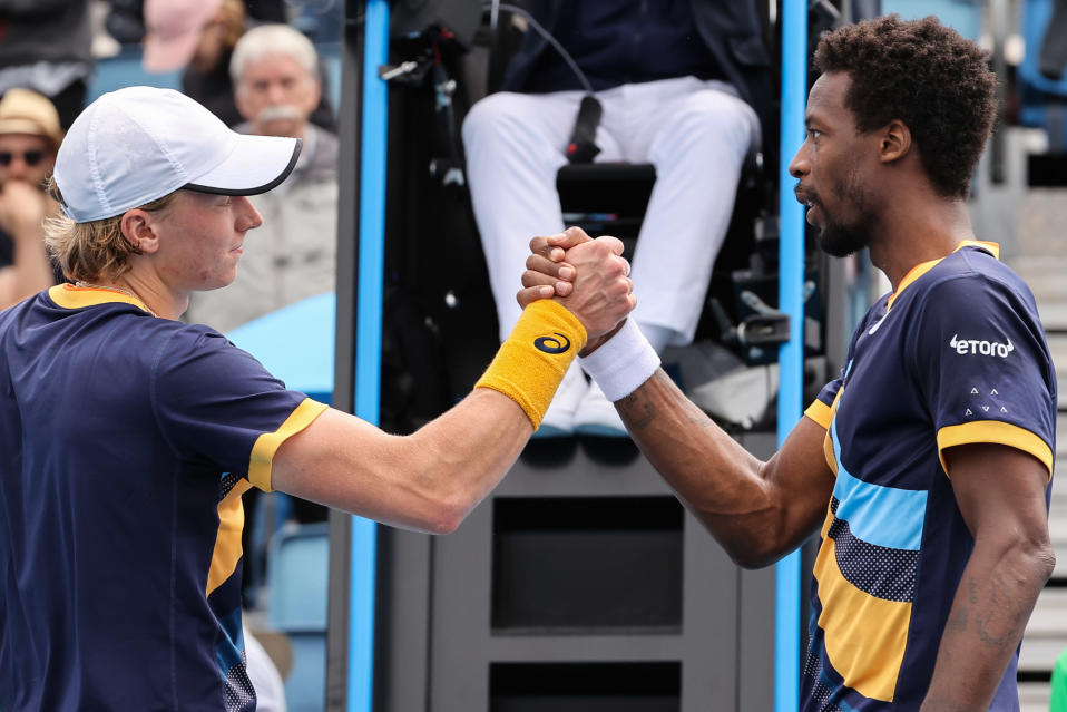 Emil Rose Mountain and Gael Monfils after the Australian Open Round match in 2021.