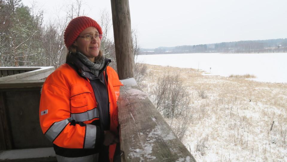 Nainen katsoo joulukuista maisemaa lintutornista