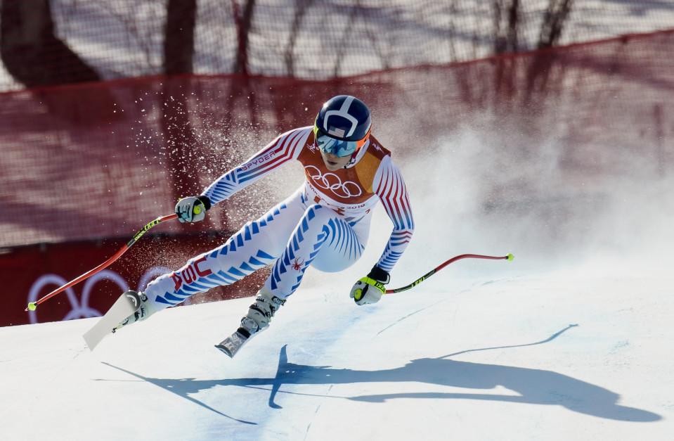 Lindsey Vonn Etelä-Korean olympialaisten syöksyrinteessä.