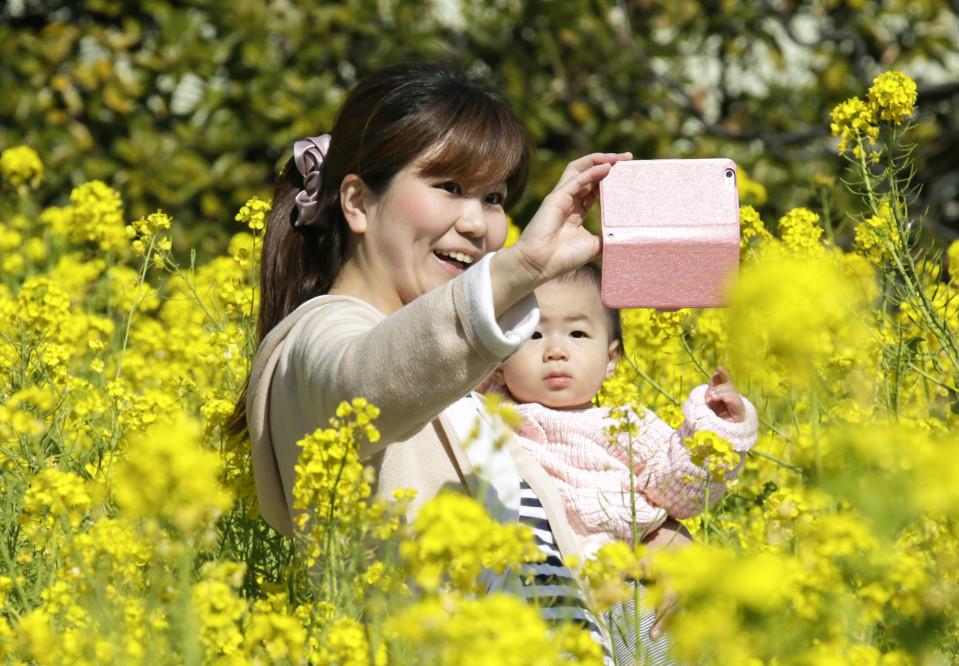 Nuori äiti ottaa puhelimella kuvaa itsestään ja vauvastaan kukkivien sinappikasvien keskellä.