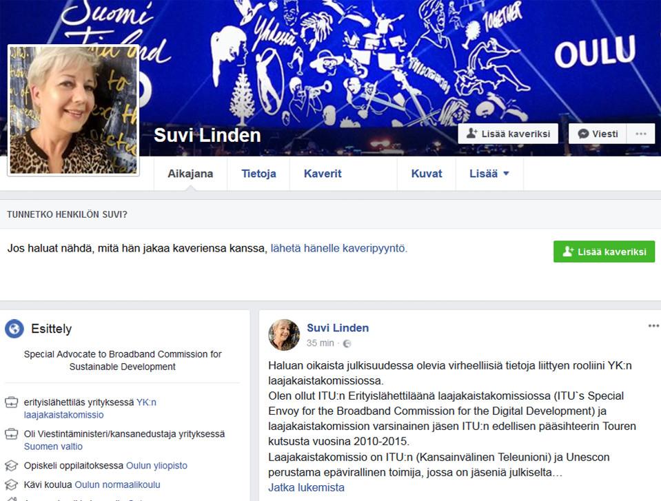 Kuvakaappaus Suvi Lindenin Facebook -sivulta.