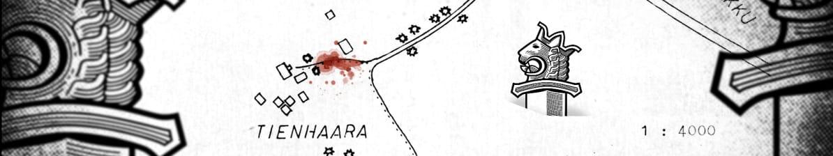 Matala bannerikuva. Kuvituskartta surmapaikasta ja poliisien varomattomuudesta: Kuvitus: Asmo Raimoaho
