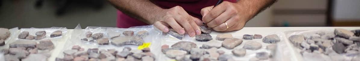 Kivettyneitä luunkappaleita pöydällä. Tutkijasta näkyvät vain kädet.