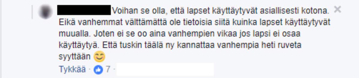 Facebook-kommentti.