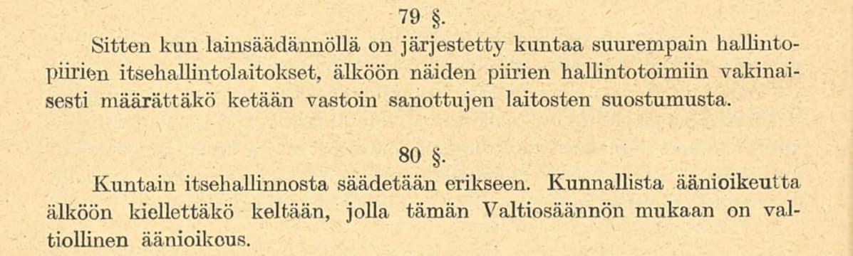 Valtiosääntöehdotus 1918 pykälät 79-81