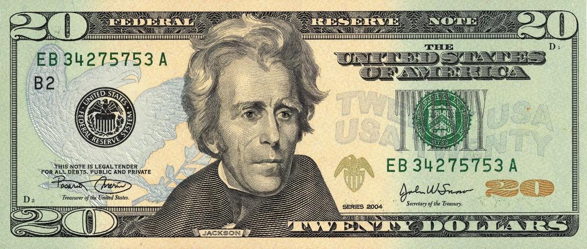 Andrew Jacksonin kuva koristaa 20 dollarin seteliä.