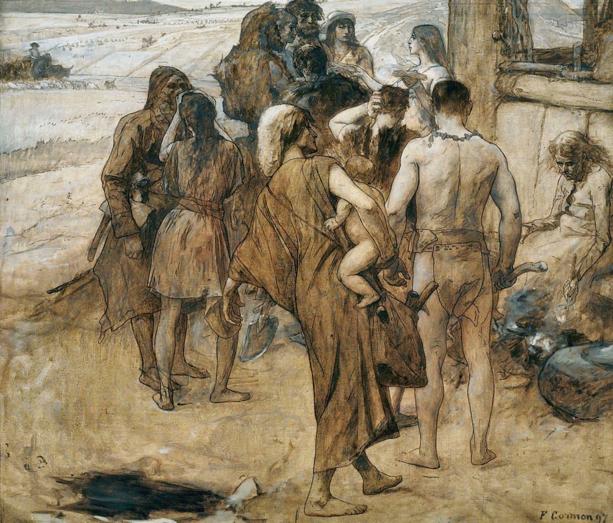 Kaapihin ja lannevaatteisiin pukeutunt ihmisjoukko pellon laidalla.
