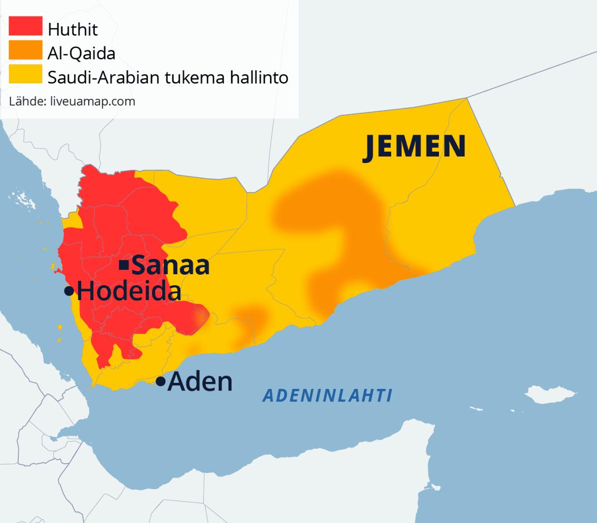 Kartta Jemenin eri osapuolista.